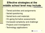 effective strategies at the middle school level may include