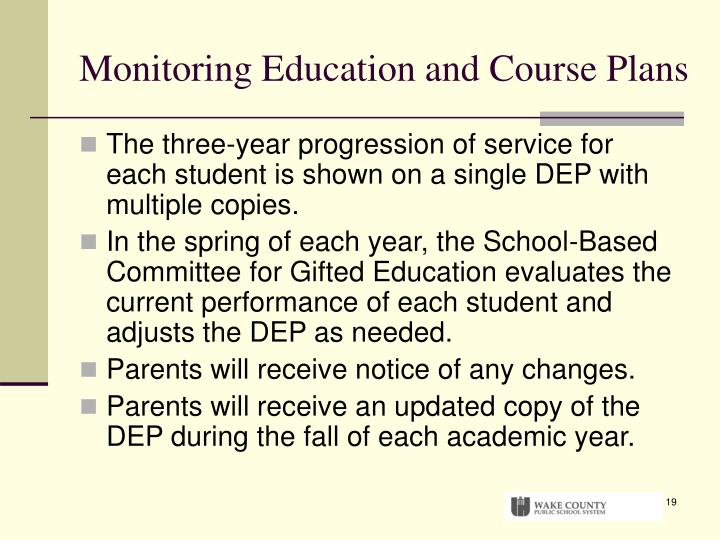 Monitoring Education and Course Plans
