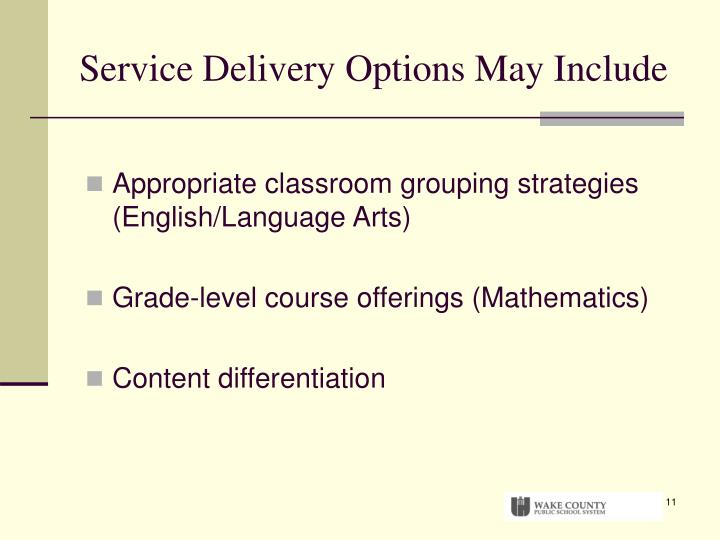 Service Delivery Options May Include