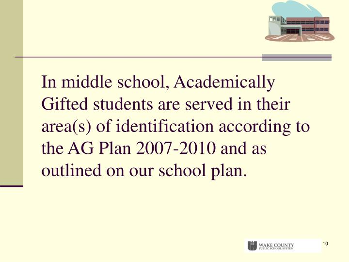 In middle school, Academically Gifted students are served in their area(s) of identification according to the AG Plan 2007-2010 and as outlined on our school plan.