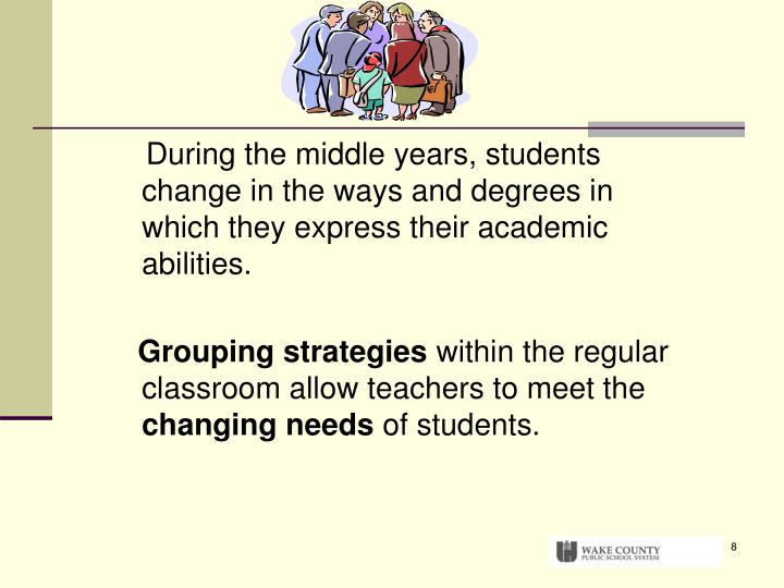 During the middle years, students change in the ways and degrees in which they express their academic abilities.