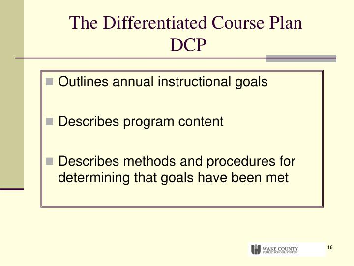 The Differentiated Course Plan