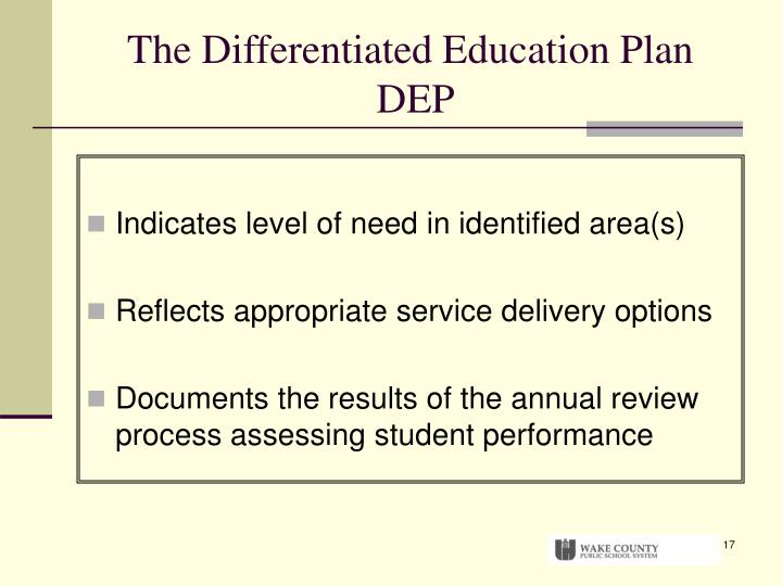 The Differentiated Education Plan