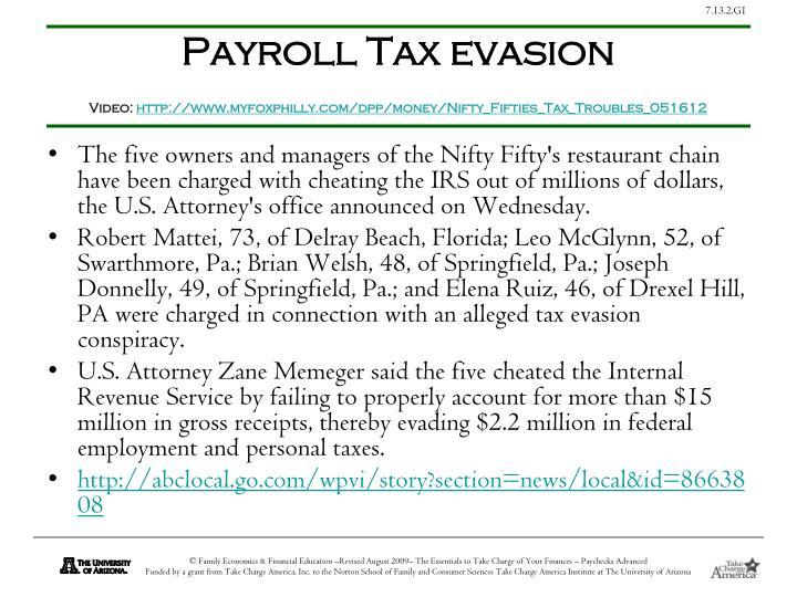 Payroll Tax evasion