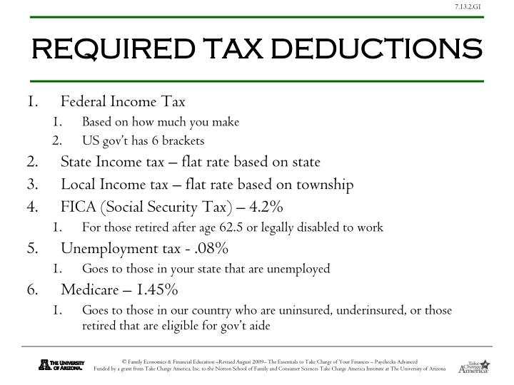 REQUIRED TAX DEDUCTIONS