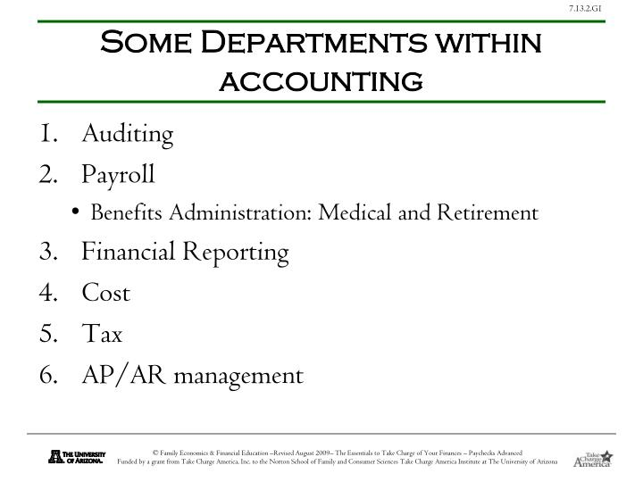 Some Departments within accounting