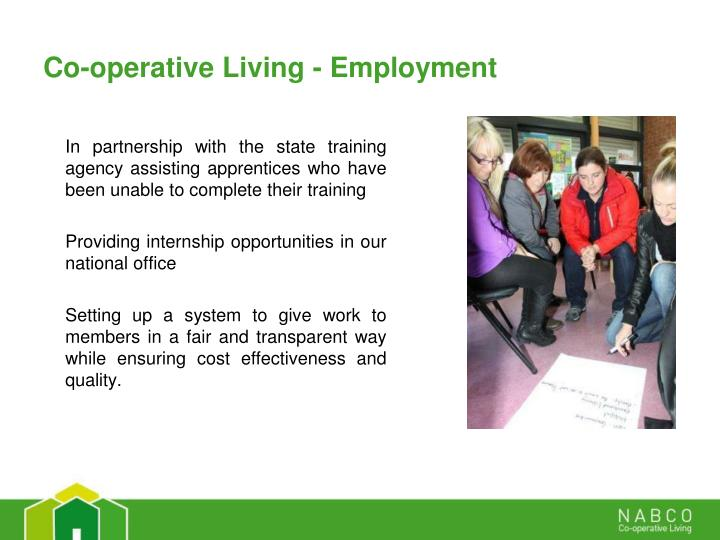 Co-operative Living - Employment