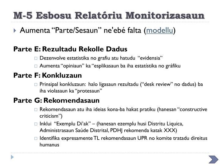 M-5 Esbosu Relatóriu Monitorizasaun