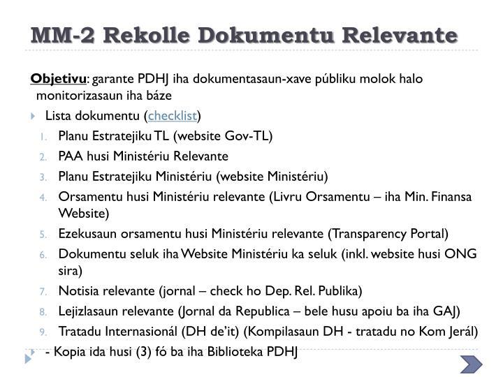 MM-2 Rekolle Dokumentu