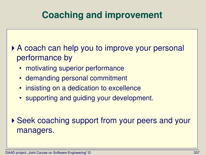 Coaching and improvement