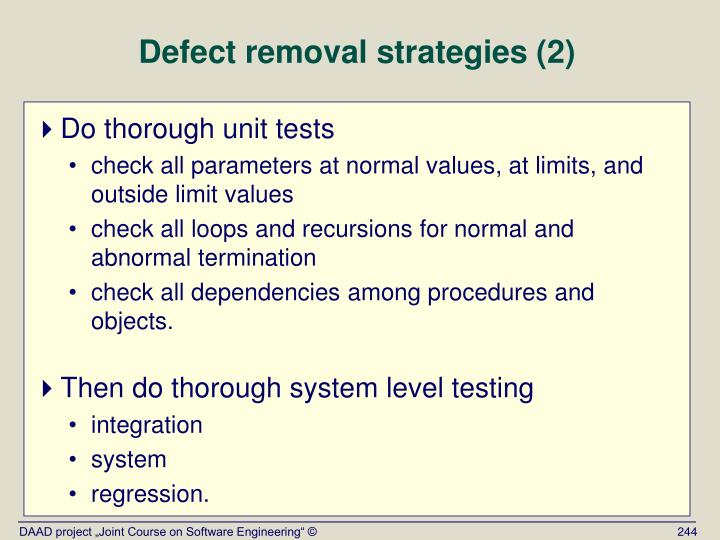 Defect removal strategies (2)