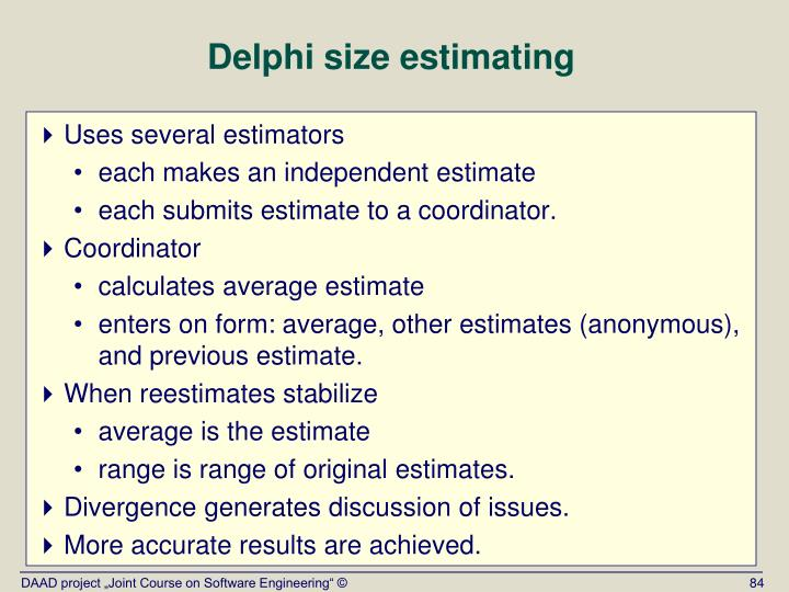 Delphi size estimating