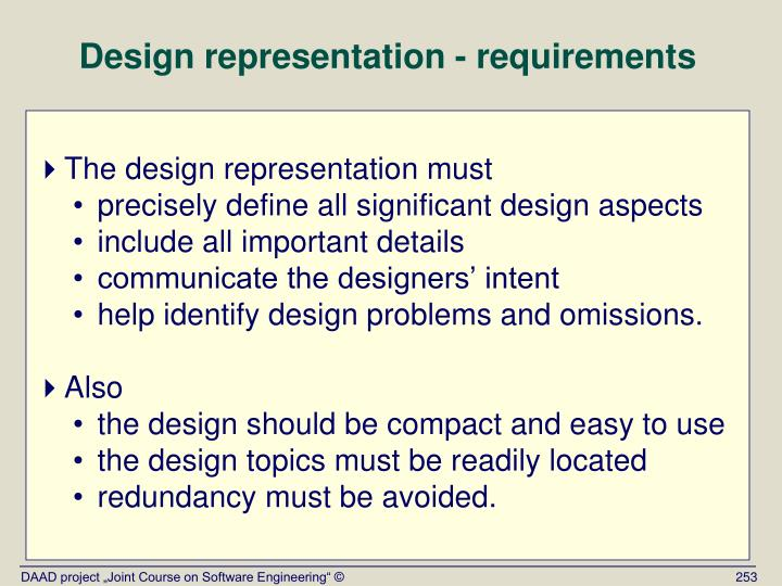 Design representation - requirements
