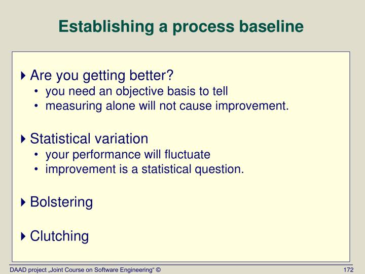 Establishing a process baseline