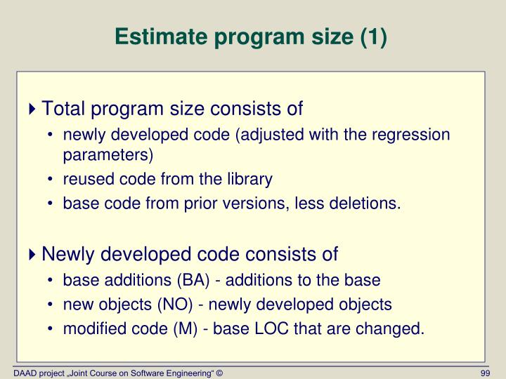 Estimate program size (1)