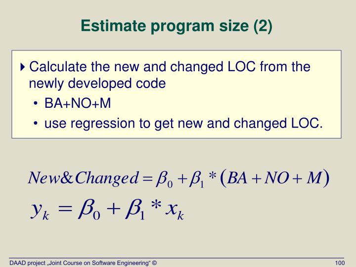 Estimate program size (2)