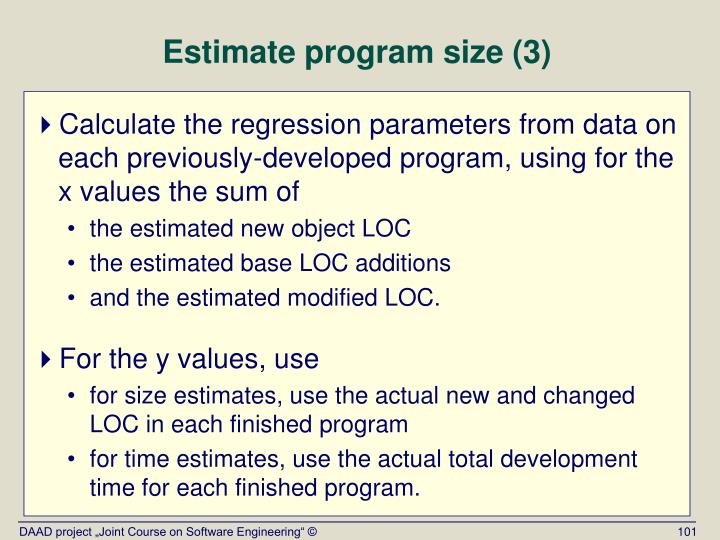 Estimate program size (3)