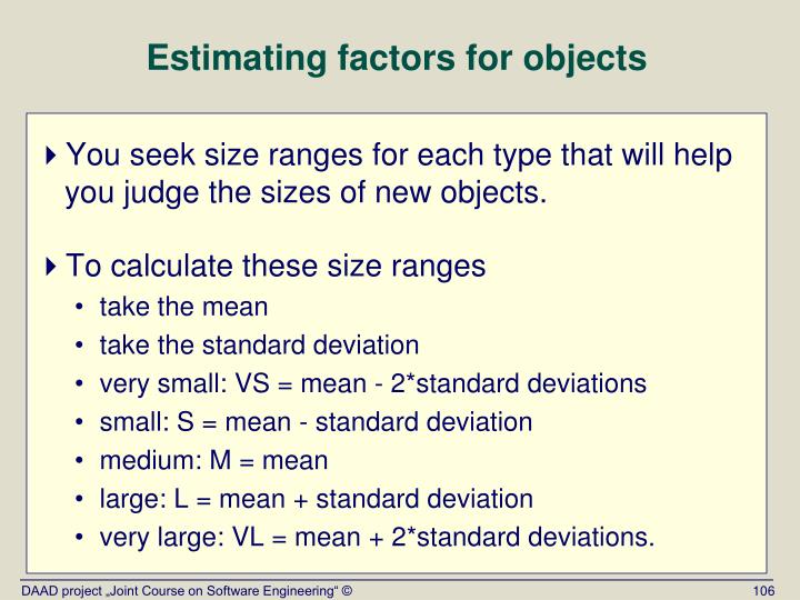 Estimating factors for objects