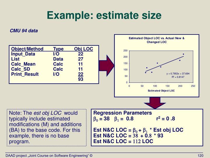 Example: estimate size