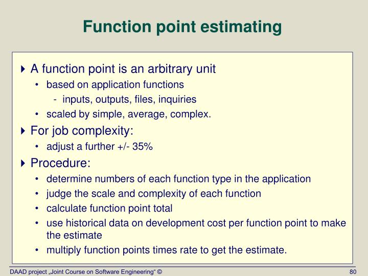 Function point estimating