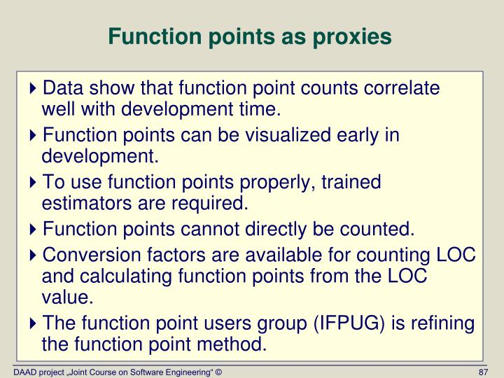 Function points as proxies