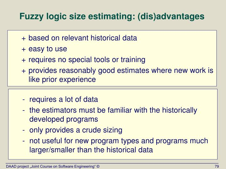 Fuzzy logic size estimating: (dis)advantages