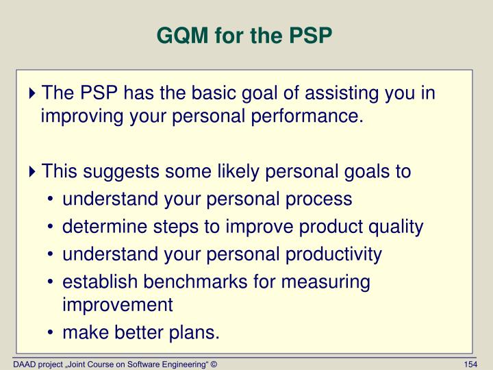 GQM for the PSP