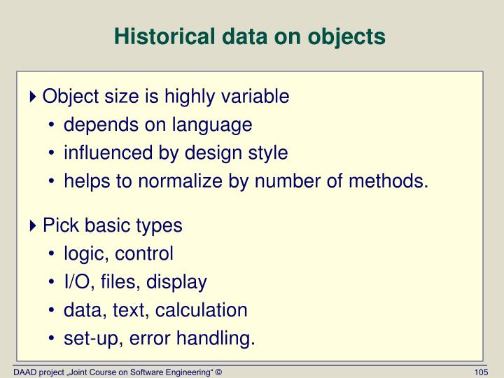 Historical data on objects