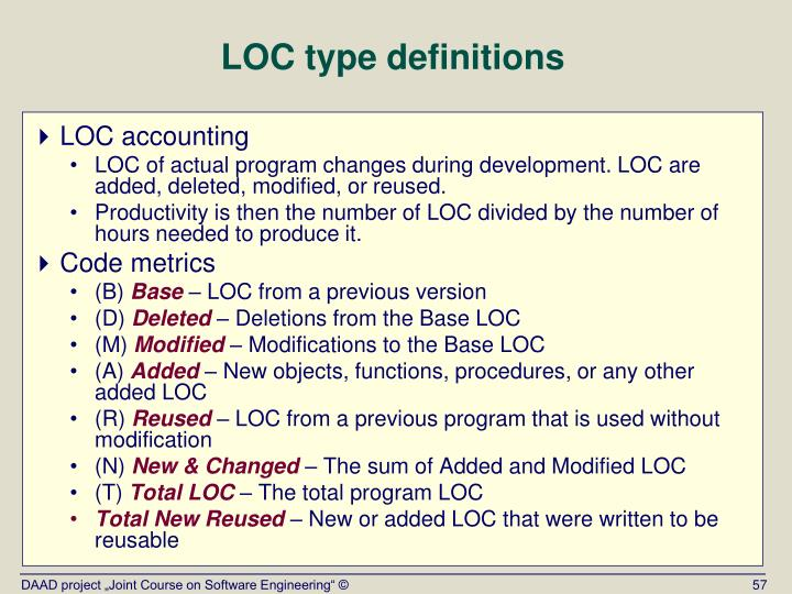 LOC type definitions