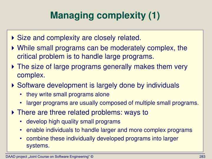 Managing complexity (1)