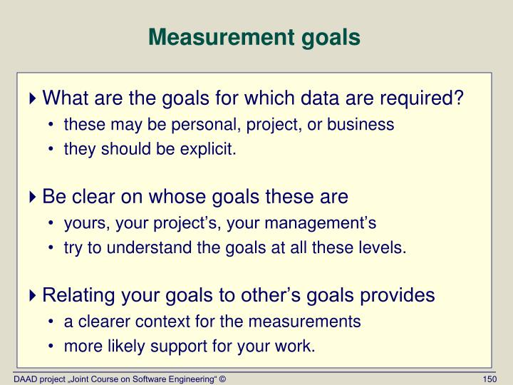 Measurement goals