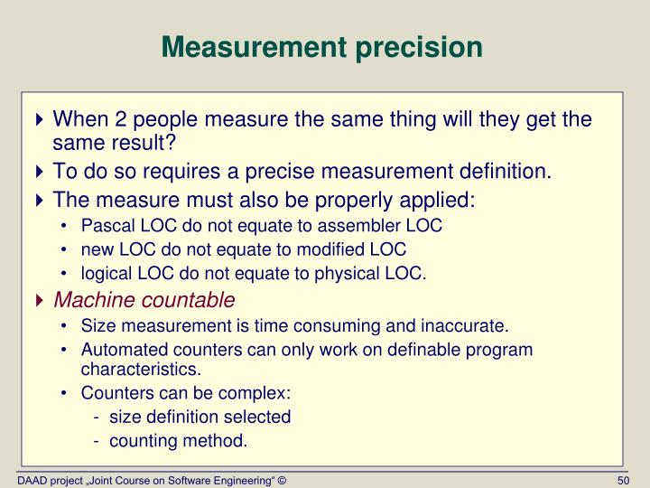 Measurement precision