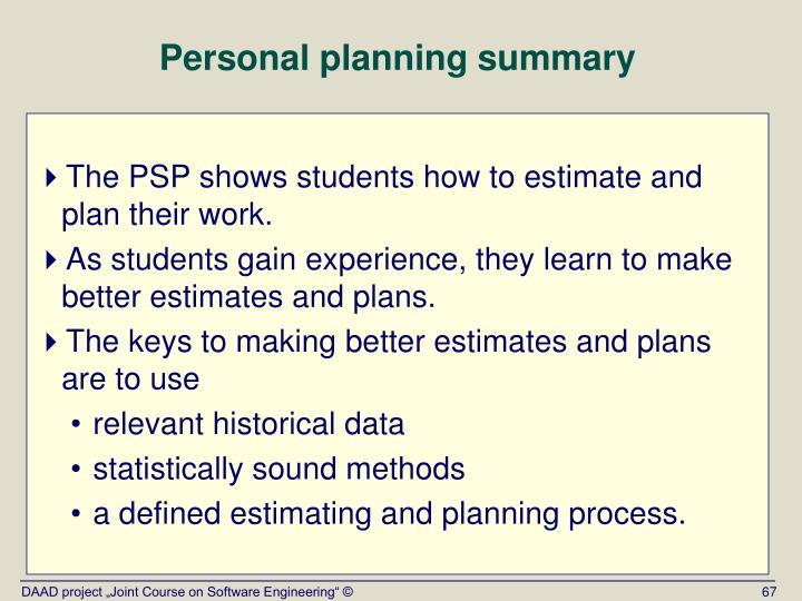 Personal planning summary