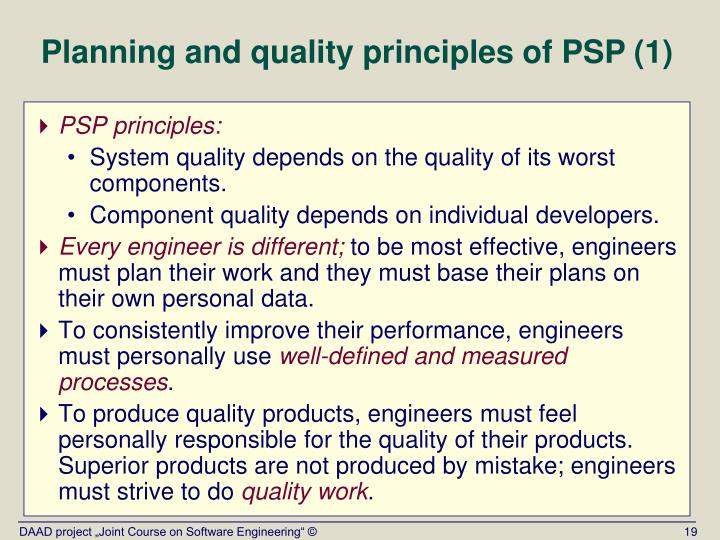 Planning and quality principles of PSP