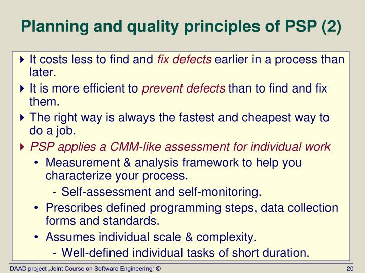 Planning and quality principles of PSP (2)