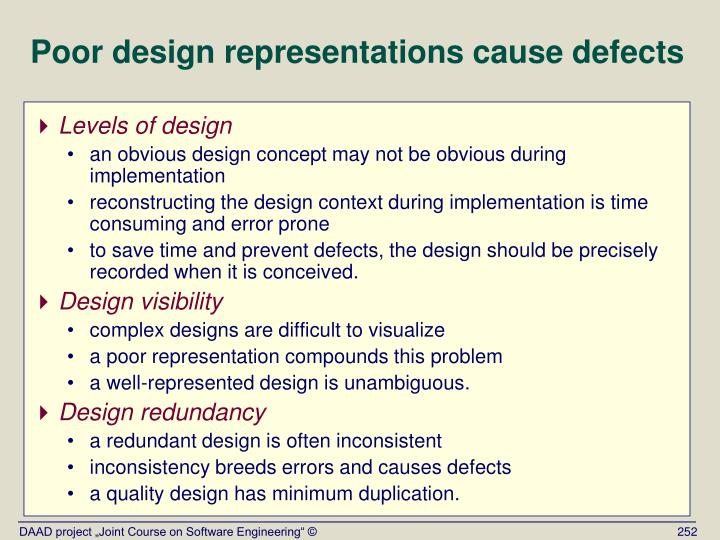 Poor design representations cause defects