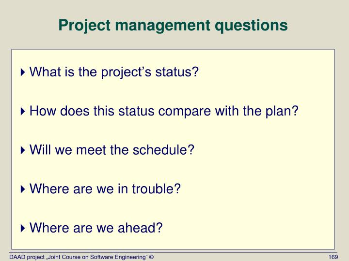 Project management questions