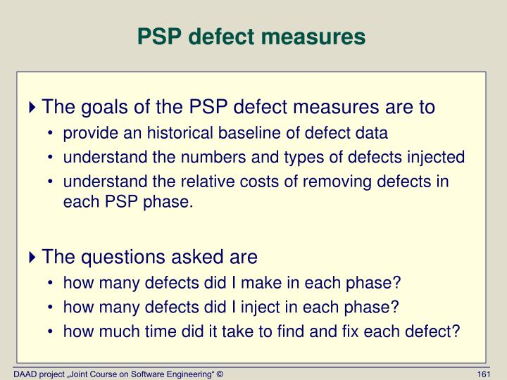 PSP defect measures