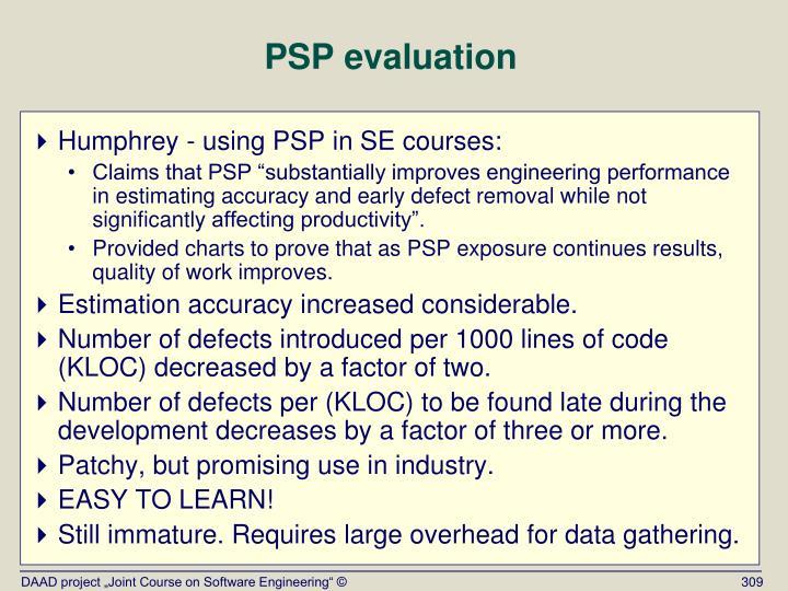 PSP evaluation