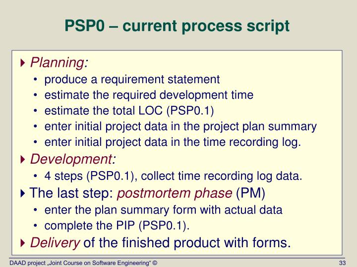 PSP0 – current process script