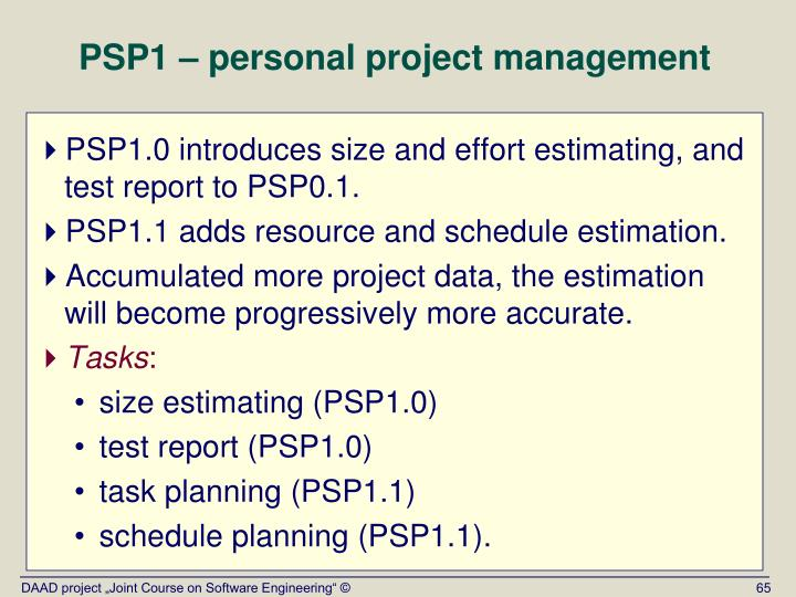 PSP1 – personal project management