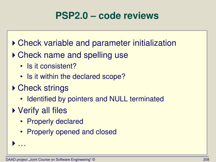 PSP2.0 – code reviews