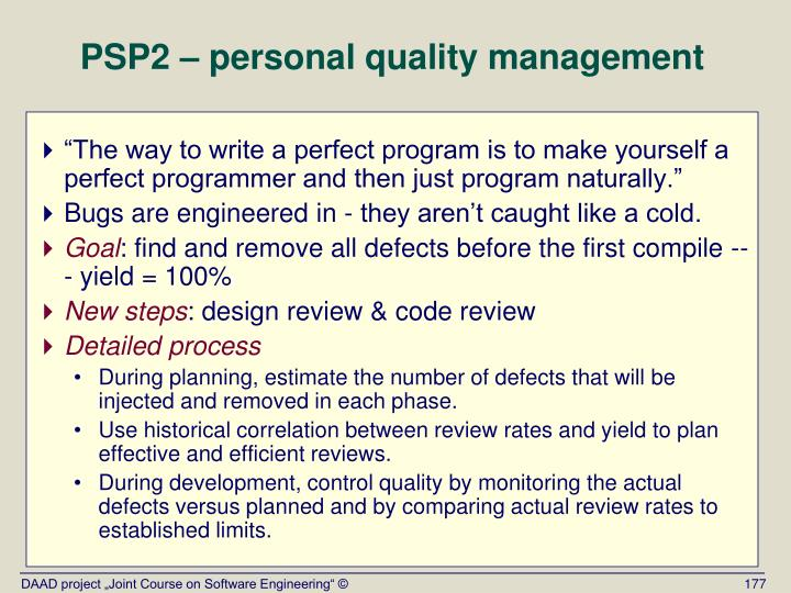 PSP2 – personal quality management
