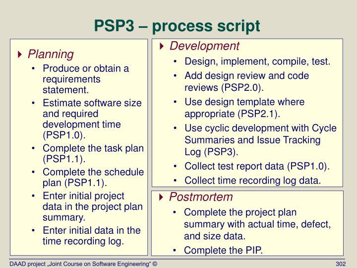 PSP3 – process script
