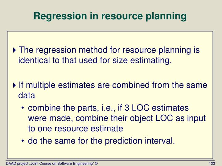 Regression in resource planning