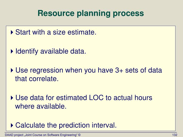 Resource planning process