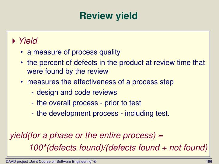 Review yield