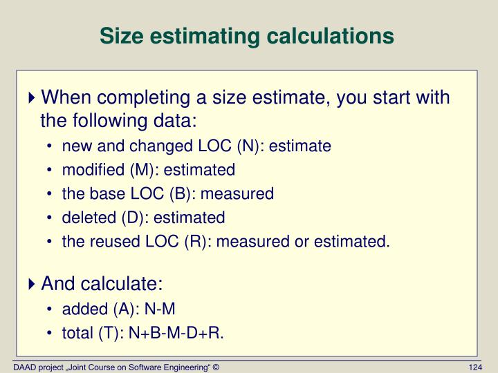 Size estimating calculations