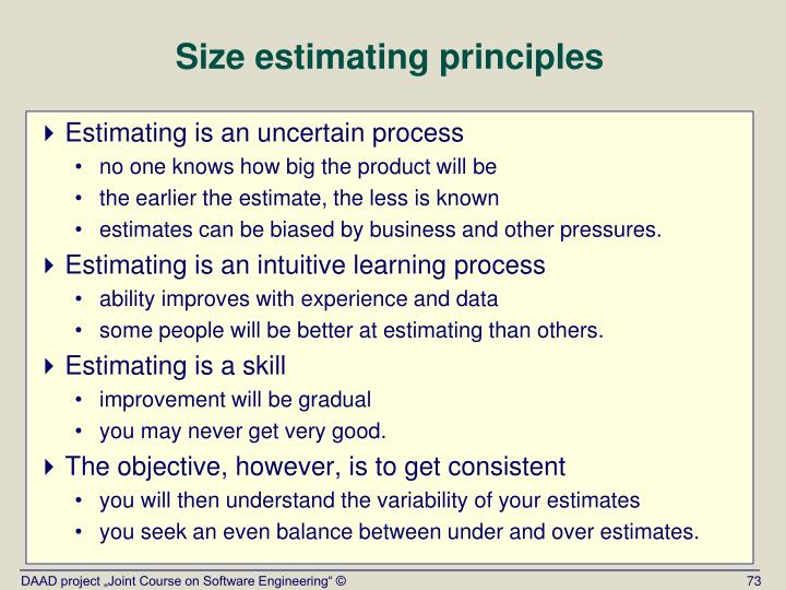 Size estimating principles