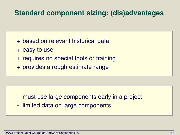 Standard component sizing: (dis)advantages